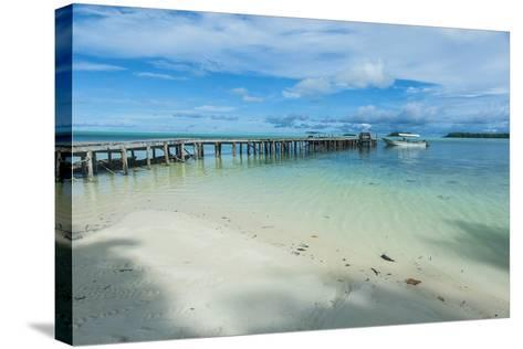 Boat Pier on Carp Island, One of the Rock Islands, Palau, Central Pacific-Michael Runkel-Stretched Canvas Print