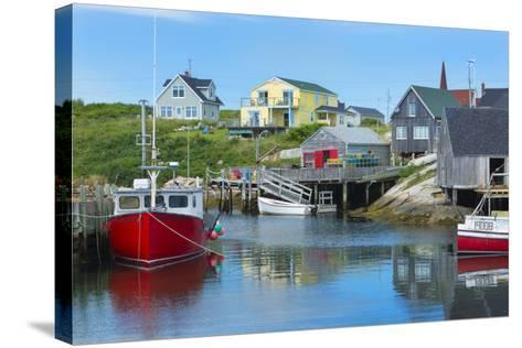 Canada, Peggy's Cove, Nova Scotia, Peaceful and Quiet Famous Harbor with Boats and Homes in Summer-Bill Bachmann-Stretched Canvas Print