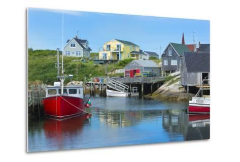 Canada, Peggy's Cove, Nova Scotia, Peaceful and Quiet Famous Harbor with Boats and Homes in Summer-Bill Bachmann-Metal Print