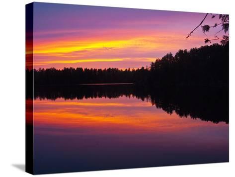 Canada, Ontario, Quetico Park, Lake Agnes Wilderness, Red Sunset-Bernard Friel-Stretched Canvas Print