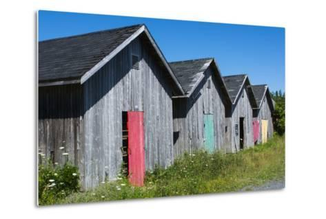 Canada, Prince Edward Island, Prim Point Graphic Beauty of Stacked Lobster Fish Houses-Bill Bachmann-Metal Print