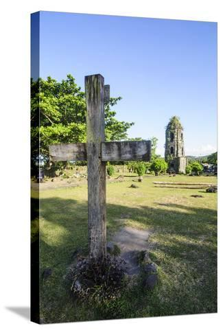 Christian Cross before the Cagsawa Church, Legaspi, Southern Luzon, Philippines-Michael Runkel-Stretched Canvas Print