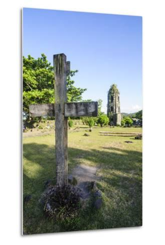 Christian Cross before the Cagsawa Church, Legaspi, Southern Luzon, Philippines-Michael Runkel-Metal Print