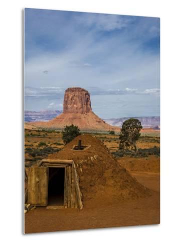 Arizona, Navajo Reservation, Monument Valley, Native American Hogan'S-Jerry Ginsberg-Metal Print