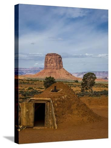 Arizona, Navajo Reservation, Monument Valley, Native American Hogan'S-Jerry Ginsberg-Stretched Canvas Print