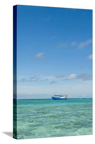 Fishing Boat in the Turquoise Waters of the Blue Lagoon, Yasawa, Fiji, South Pacific-Michael Runkel-Stretched Canvas Print