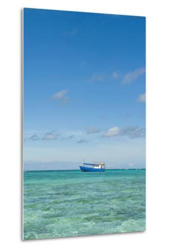 Fishing Boat in the Turquoise Waters of the Blue Lagoon, Yasawa, Fiji, South Pacific-Michael Runkel-Metal Print