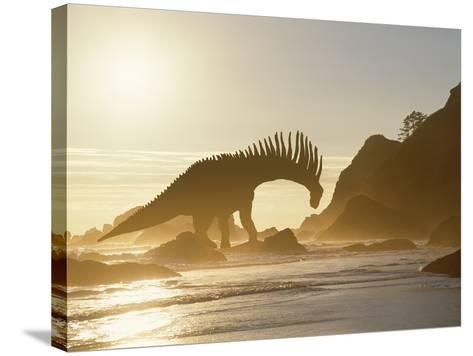 Concept of Amargasaurus Dinosaur on Ocean Shore-Jaynes Gallery-Stretched Canvas Print