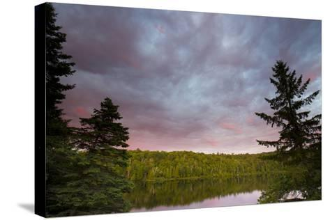Canada, Quebec, Lake Long Pond. Sunset on Lake and Forest-Jaynes Gallery-Stretched Canvas Print