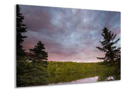 Canada, Quebec, Lake Long Pond. Sunset on Lake and Forest-Jaynes Gallery-Metal Print