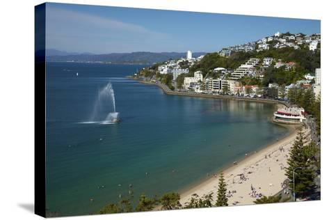 Fountain, Oriental Bay, Wellington, North Island, New Zealand-David Wall-Stretched Canvas Print