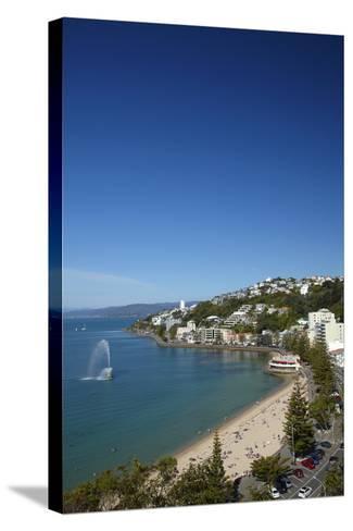 Fountain, Oriental Bay, Wellington, North Island, New Zealand-David Wall-Stretched Canvas Print