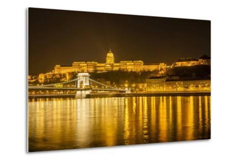 Buda Castle. Chain Bridge. Nightscape. Danube River Surroundings. Budapest. Hungary-Tom Norring-Metal Print