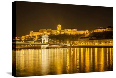 Buda Castle. Chain Bridge. Nightscape. Danube River Surroundings. Budapest. Hungary-Tom Norring-Stretched Canvas Print