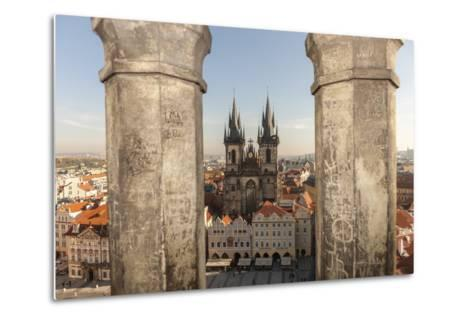 Aerial of Old Town Square. Church of Our Lady of Tryn. Prague, Czech Republic-Tom Norring-Metal Print