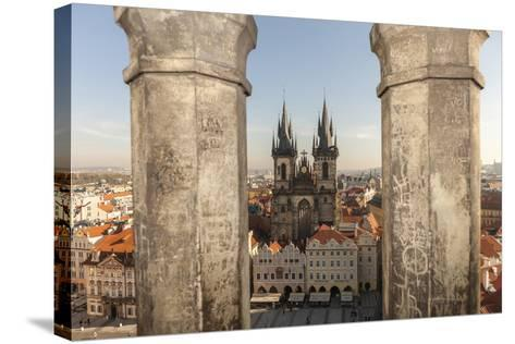 Aerial of Old Town Square. Church of Our Lady of Tryn. Prague, Czech Republic-Tom Norring-Stretched Canvas Print