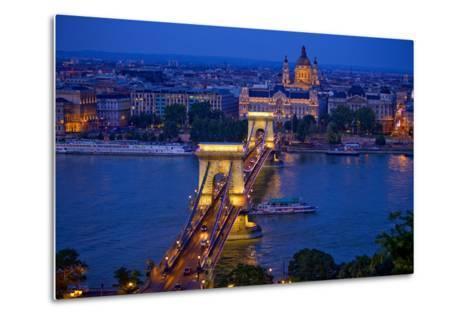 Europe, Hungary, Budapest. Chain Bridge Lit at Night-Jaynes Gallery-Metal Print