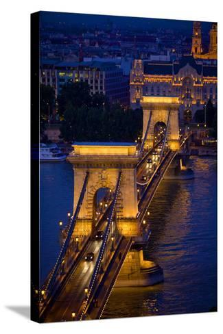 Europe, Hungary, Budapest. Chain Bridge Lit at Night-Jaynes Gallery-Stretched Canvas Print
