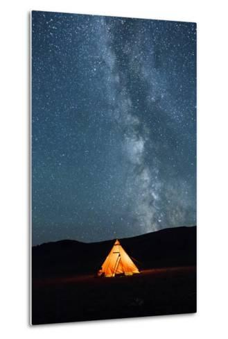 Asia, Western Mongolia, Khovd Province, Gashuun Suhayt. River Valley. Tent with Stars and Milky Way-Emily Wilson-Metal Print