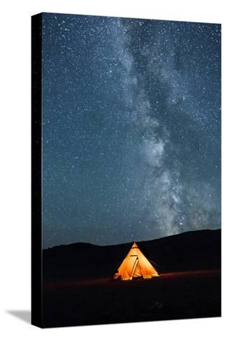 Asia, Western Mongolia, Khovd Province, Gashuun Suhayt. River Valley. Tent with Stars and Milky Way-Emily Wilson-Stretched Canvas Print