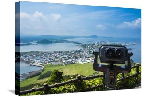 Binoculars on Top of the Ilchulbong Tuff Cone, Sunrise Peak, Jejudo Island, South Korea-Michael Runkel-Stretched Canvas Print