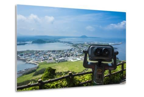 Binoculars on Top of the Ilchulbong Tuff Cone, Sunrise Peak, Jejudo Island, South Korea-Michael Runkel-Metal Print