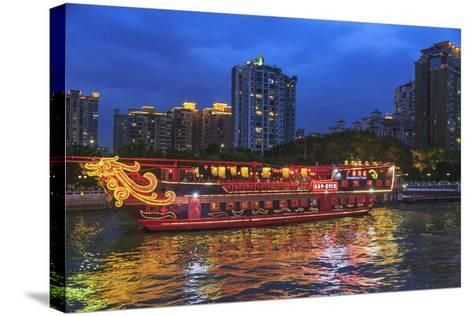 Dinner Cruise Along Pearl River Enjoying Guangzhou Skyline, China-Stuart Westmorland-Stretched Canvas Print