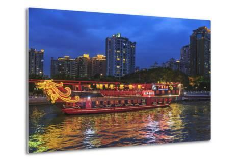 Dinner Cruise Along Pearl River Enjoying Guangzhou Skyline, China-Stuart Westmorland-Metal Print