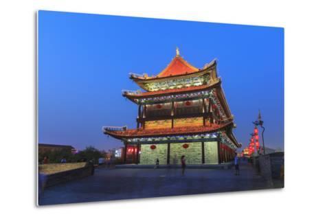 Night Lighting and Glowing Lanterns, Views from Atop City Wall, Xi'An, China-Stuart Westmorland-Metal Print