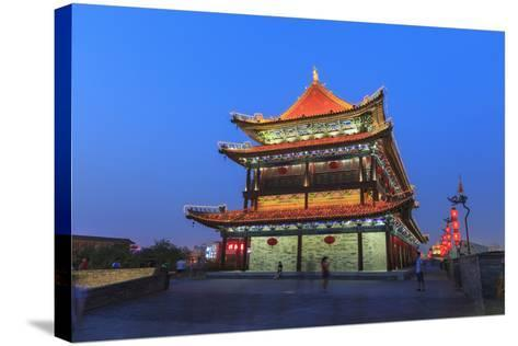 Night Lighting and Glowing Lanterns, Views from Atop City Wall, Xi'An, China-Stuart Westmorland-Stretched Canvas Print
