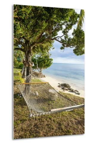 Hammock on a Beach in Ha'Apai, Tonga, South Pacific-Michael Runkel-Metal Print