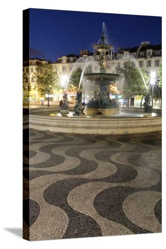 Portugal, Lisbon. Rossio Square at Night. Bronze Mermaid Fountain-Emily Wilson-Stretched Canvas Print