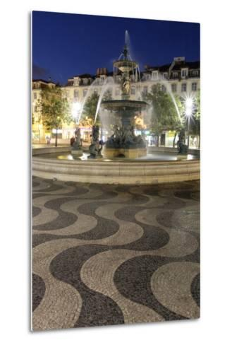 Portugal, Lisbon. Rossio Square at Night. Bronze Mermaid Fountain-Emily Wilson-Metal Print