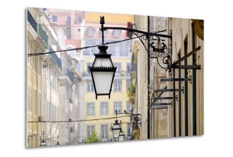 Portugal, Lisbon. Wrought Iron Street Lights on Corner of Building. Maritime Emblem-Emily Wilson-Metal Print