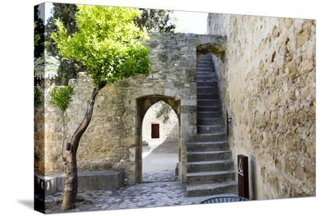 Portugal, Lisbon. Stairway Inside the Walls of the Sao Jorge Castle-Emily Wilson-Stretched Canvas Print