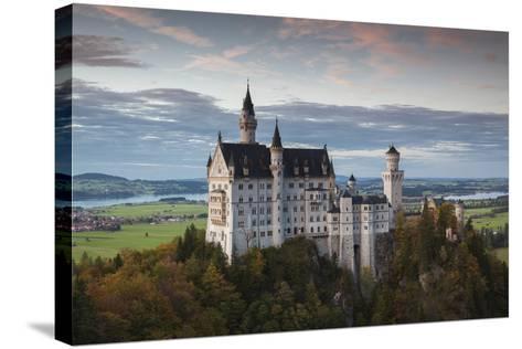 Germany, Bavaria, Hohenschwangau, Castle, Marienbrucke Bridge View, Dusk-Walter Bibikow-Stretched Canvas Print