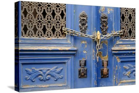 Portugal, Lisbon. Historic Alfama District, Blue Door with Chain Lock-Emily Wilson-Stretched Canvas Print