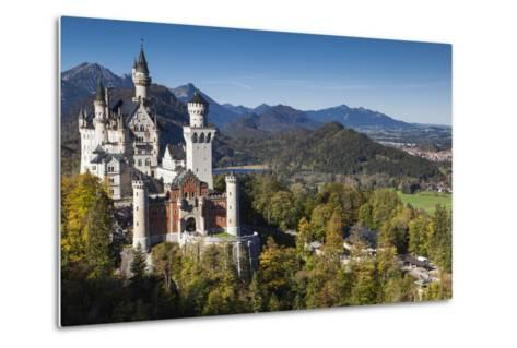 Germany, Bavaria, Hohenschwangau, Elevated View of a Castle in the Fall-Walter Bibikow-Metal Print