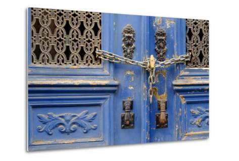 Portugal, Lisbon. Historic Alfama District, Blue Door with Chain Lock-Emily Wilson-Metal Print