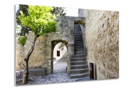 Portugal, Lisbon. Stairway Inside the Walls of the Sao Jorge Castle-Emily Wilson-Metal Print