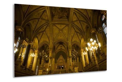 Interior of Parliament Building. Budapest. Hungary-Tom Norring-Metal Print