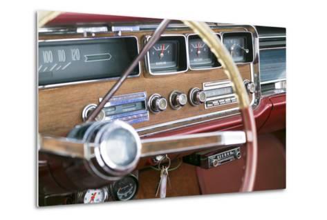 Interior of an Old Classic Car, Tucumcari, New Mexico, USA. Route 66-Julien McRoberts-Metal Print