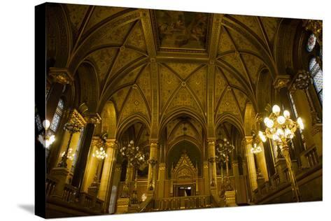 Interior of Parliament Building. Budapest. Hungary-Tom Norring-Stretched Canvas Print