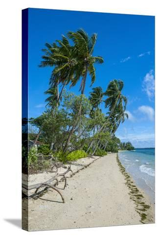 Palm Fringed White Sand Beach on an Islet of Vava'U Islands, Tonga, South Pacific-Michael Runkel-Stretched Canvas Print