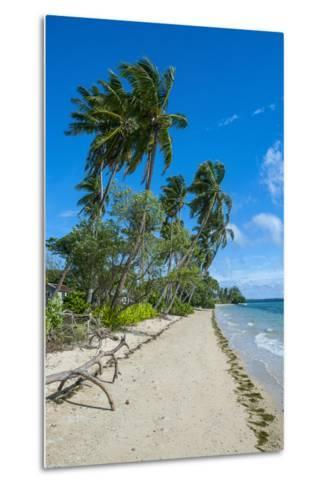 Palm Fringed White Sand Beach on an Islet of Vava'U Islands, Tonga, South Pacific-Michael Runkel-Metal Print