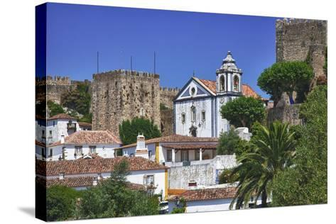 Portugal, Obidos, Elevated View of the Town with the Red Roofs-Terry Eggers-Stretched Canvas Print