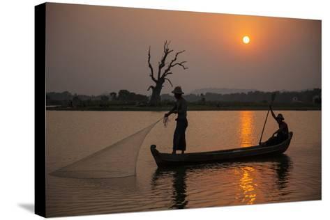 Myanmar, Mandalay, Amarapura. Fishermen on Irrawaddy River-Jaynes Gallery-Stretched Canvas Print
