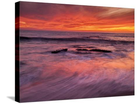 USA, California, La Jolla, Sunset at North End of Windansea Beach-Ann Collins-Stretched Canvas Print