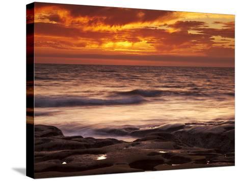 USA, California, La Jolla, Sunset over Tide Pools at Coast Blvd-Ann Collins-Stretched Canvas Print