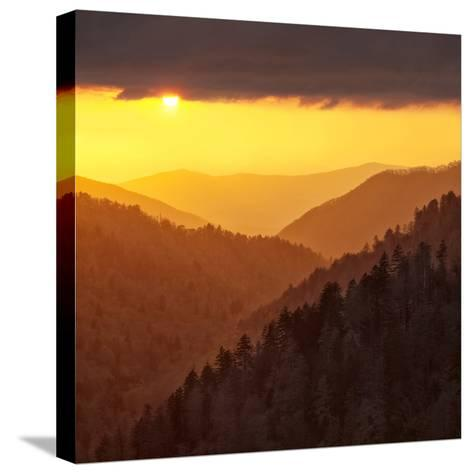 Sunset Light Reflected by Clouds Fills Valley with Warm Light-Ann Collins-Stretched Canvas Print